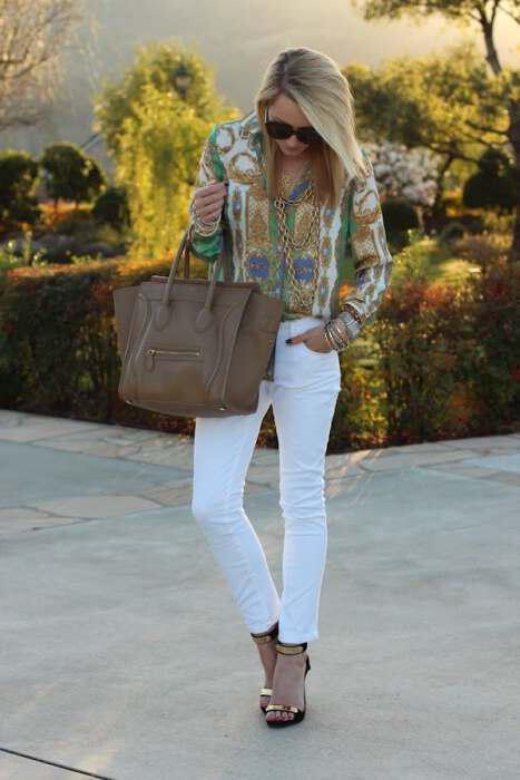White jean 1 - 7 τρόποι για να φορέσετε άσπρο jean το Φθινόπωρο