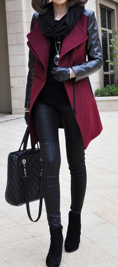 Black Peacoat Black Oeggings And Red Shoes