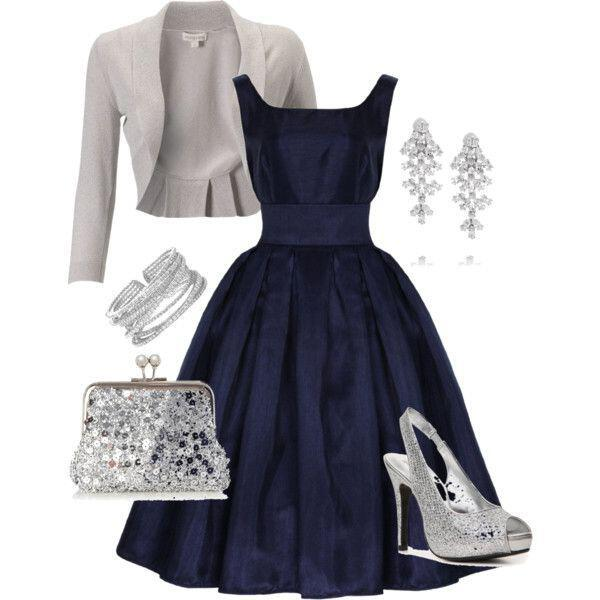 for How to accessorize a navy blue dress for a wedding